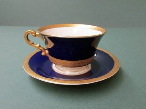 Cobalt and gold cup and saucer.